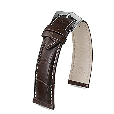 Premium Outstanding Dark Brown Watch Strap Italian Calfskin Leather White Contrasting Stitch Pin Buckle
