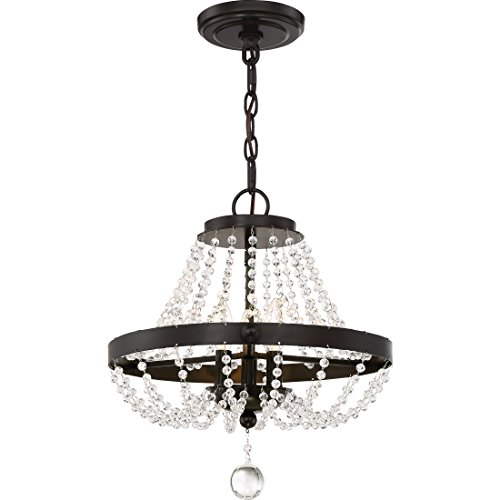 - Quoizel LVY1716WT Livery Crystal Glass Beads Chandelier, 3-Light, 180 Watts, Western Bronze (18