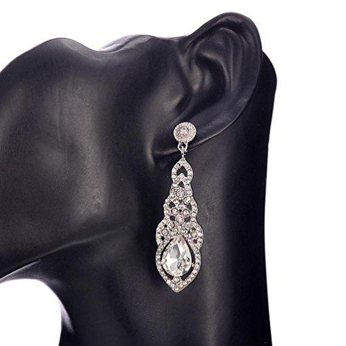Cognac Quartz Earrings (Fheaven Crystal Wedding Earrings for Women Silver Color Bridal Long Earrings Wedding Jewelry Accessories (silver))
