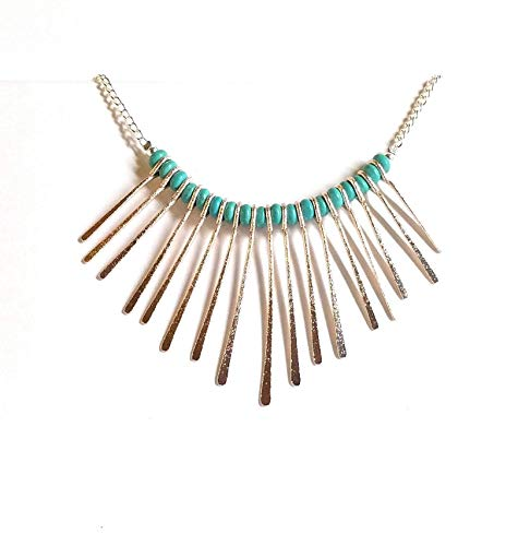 Spike Boots Metallic - Turquoise Bib Tribal Fringe Spike Mixed Metal Chain Necklace
