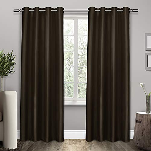 Silk Window Classic Panel - Exclusive Home Curtains Shantung Faux Silk Thermal Window Curtain Panel Pair with Grommet Top, 54x84 Espresso 2 Piece