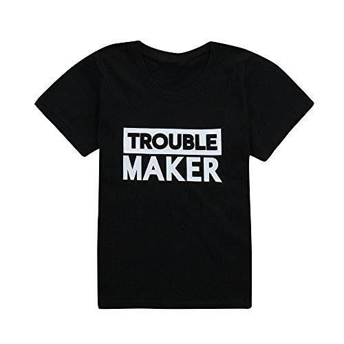 Hongxin Family Matching Tshirts, Daddy And Me Father Son Clothes Cute Trouble Letters Print Family T Shirt Family Matching Outfits Family Look Clothes Fathers Day Gift (Size:24M, Kids only)]()