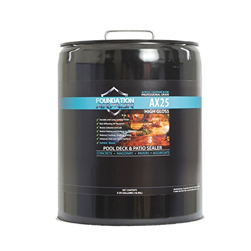 5 Gal. Armor AX25 Clear Wet Look High Gloss Solvent-Based Siloxane Infused Acrylic Concrete, Aggregate, and Paver Water Repellent Sealer by Foundation Armor
