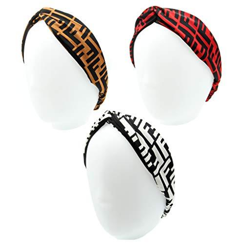 Designer FF Print Headband for Women - Criss Cross Letter Wide Headbands- Elastic Head Wrap - Sport Hairbands for Girls - 3Pcs of Pack (FF Print Style) (Designer Für Fendi)