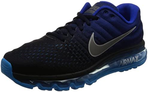 Nike Mens Air Max 2017 Running Shoes Dark Obsidian White Royal Blue 849559-400 Size 8.5
