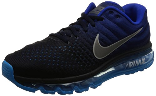 info for ea8d1 ea337 Galleon - NIKE Mens Air Max 2017 Running Shoes Dark Obsidian White Royal  Blue 849559-400 Size 8.5
