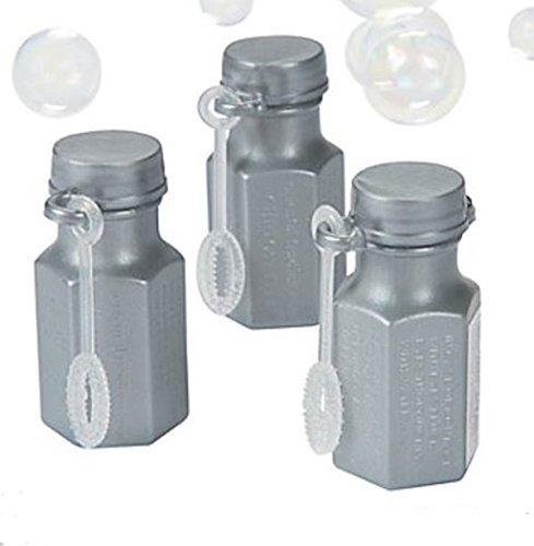 100 Silver Wedding / Anniversary Hexagon Bubble Bottles