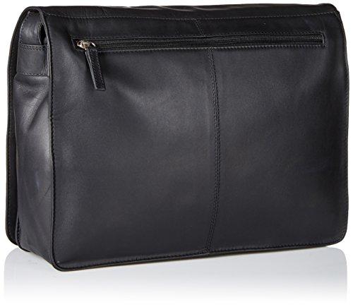 Visconti Womens Large Leather Flap-Over Shoulder Crossbody Messenger Bag, Black