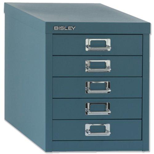 Bisley Steel Storage Cabinet 5-Drawer W279xD408xH325mm Doulton Blue Ref H125NL-74 by Bisley by Bisley