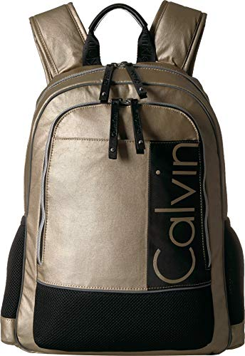 Calvin Klein Athliesure Nylon Double Zip Backpack, champagne