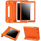 HDE Case for iPad 9.7-inch 2018 / 2017 Kids Shockproof Bumper Hard Cover Handle Stand with Built in Screen Protector for New Apple Education iPad 9.7 Inch (6th Gen) / 5th Generation iPad 9.7 - Orange