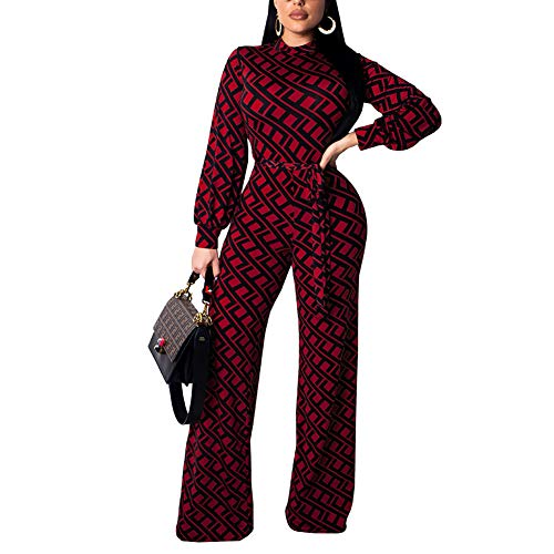 Kafiloe Womens Long Sleeve Print Bodycon Flare Bell Bottom Pants Party Jumpsuit Rompers with Belt Wine Red