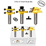 Valiant Tongue and Groove Router Bit Tool Set ½'' Shank With 45° Lock Miter Bit ½'' Shank - Solid Steel, Anti Kickback Design, Easy Operation - For Doors, Tables, Shelves, Walls, DIY Woodwork & More