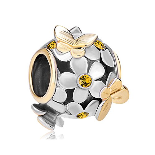 Butterfly Charm Yellow Crystal Flower 22K Gold/Silver Plated Bead Fits Pandora Bracelet
