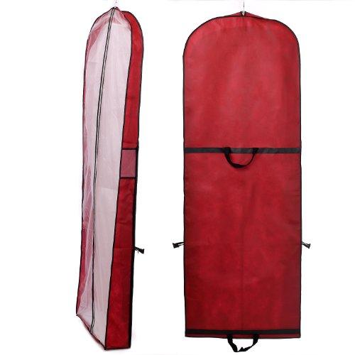 Atmungsaktiver Kleidersack Schutzhülle für Brautkleider / Abendkleider / Anzüge / Mäntel - ca. 149 cm - Reissverschluss - Zwei Taschen für Zubehörteile - Dunkelrot, KXB-107 Dardred