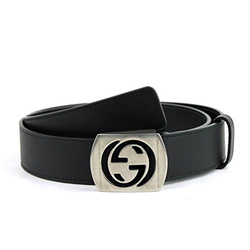 Gucci Men's Silver Interlocking G Leather Belt 387031 2140 (100 / 40, Black) by Gucci