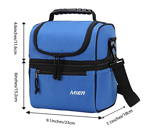 MIER 2 Compartment Lunch Bag for Men Women Kids, Leakproof Insulated Cooler Bag for Work, School, Navy Blue by MIER (Image #6)