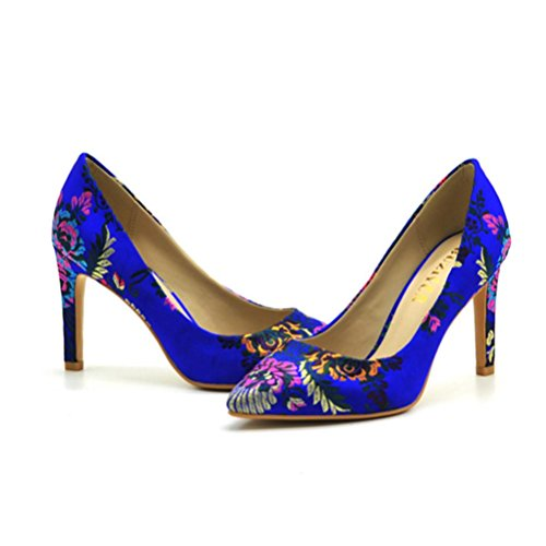 mujer Ocupación altos Flores blue Tacones Zapatos Zapatos apuntaron mujeres el talón fino QPYC de solteros Banquete Las baja Boca SzOwTT