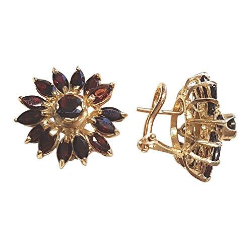 Clearance Boucles d'Oreilles Femme en Or 14 carats Jaune avec Grenat, 13 Grammes