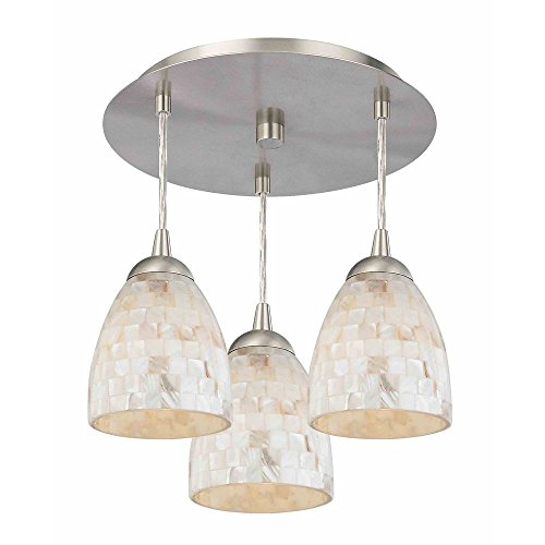 3-Light Semi-Flush Light with Mosaic Bell Glass - Nickel Finish (Tile Light Pendant 3)