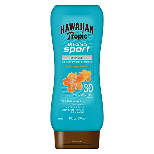 - Hawaiian Tropic Island Sport Ultra Light High Performance Suncreen Lotion, Light Tropical Scent SPF 30 8 oz