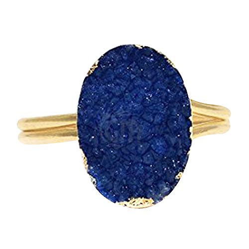 (Blue Druzy Ring,Gemstone Ring, Druzy Jewelry, Gold Plated Ring, Statement Ring, (BZRG-12005))