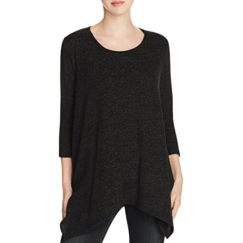 Metallic Spandex Tunic (Nally & Millie Womens Metallic Tunic Pullover Top Black L)