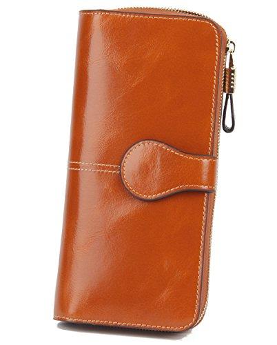 Yafeige Women's RFID Blocking Wallet Luxury Genuine Leather Clutch Ladies Travel Purse(Brown)