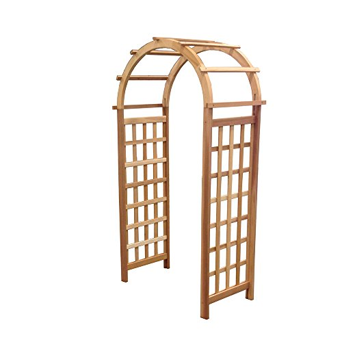 Arboria Glendale Garden Arbor Cedar Wood Over 7ft High With Arch Design (Cedar Arched Arbor)