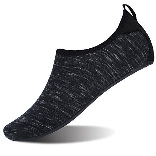 FEETCITY Mens Water Shoes Womens Swim Shoes Footwear Aqua Shoes Swim Shoe YOG Black L(W:9.5-10.5,M:7.5-8)