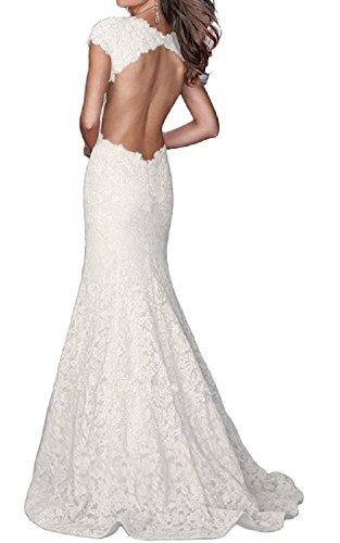 FELALA Women's Backless Mermaid Lace Long Evening Prom Dresses White 2 (White Prom Dress Backless)