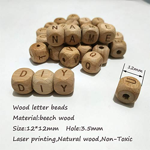 Alenybeby Baby Teething Accessories 100pc 12mm Square Shape Beech Wood Letter Beads Teether Toy DIY Jewelry Beads (I 100pcs)