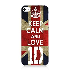 KEEP CALM AND LOVE ID AND UK FLAG One Direction Snap On Case Hard Cover For iPhone 5 5s 2013 New