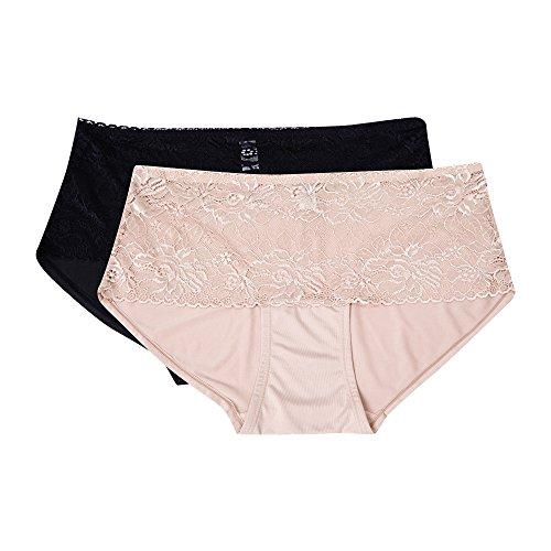 Kathy Ireland Women's 2 Pack Microfiber Lace Detail Shaping Boyleg Brief Panties Black/Beige 3X