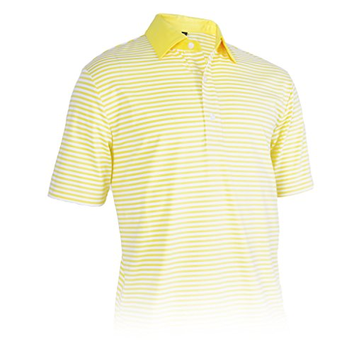 (Monterey Club Mens Dry Swing Thin Stripe Jersey Shirt #3620 (Dijon/White,)