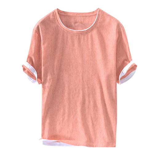- Mens Cotton Linen T-Shirt Brief Solid Summer Short Sleeve Thin Casual Tee Crew Neck Loose Fit Breathable Top Pink