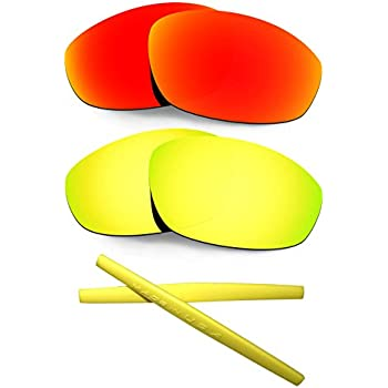 HKUCO For Oakley Whisker 24K Gold/Green Polarized Replacement Lenses and Yellow Earsocks Rubber Kit sqvKN0c4