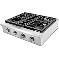 Thorkitchen HRT3003U 30' Pro-Style Gas Rangetop with 4 Sealed Burners, Stainless Steel