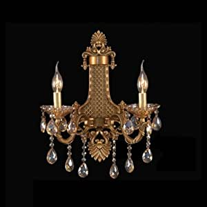 QIANG Graceful Design Wall Sconce Featured Delicate Sculpture Two Light Crystal Drops