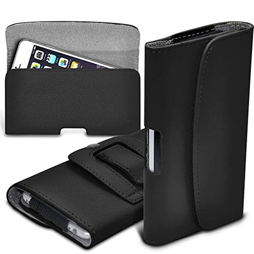 ONX3 Black Horizontal Pouch Faux Leather Belt Holster Mobile Phone Pouch Case Cover With Magnetic Closure Compatible…