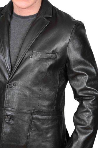 Hommes Classic Blazer Veste En Cuir NOIR 2 Boutonné Avec Vent Arrière Manteau - SEAN