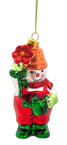 Gardening Snowman Glass Ornament