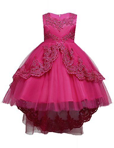 WEONEDREAM Lace High Low Flower Girl Dresses for Girls Kids First Communions Sleeveless Embroidery Crystal Ball Gown with Train Pearl Summer Sundress Casual Playwear Size 7-16 9 11 (Rose, -