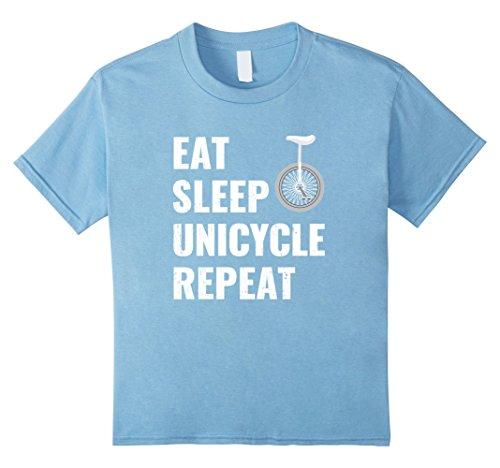 Kids Unicycle T Shirt Eat Sleep Unicycle Repeat 6 Baby Blue