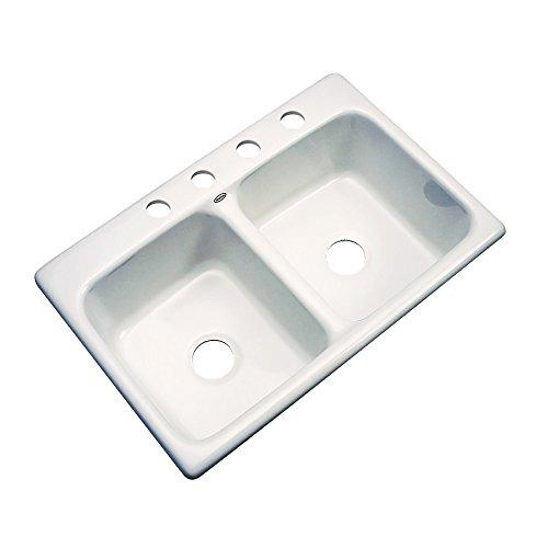 Dekor Sinks 50403 Westport Double Bowl Cast Acrylic Kitchen Sink-4 Hole, 33