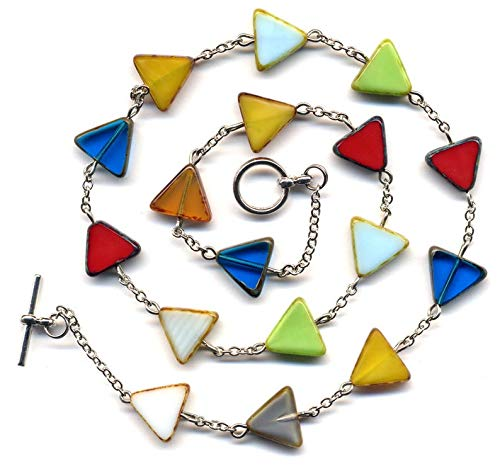 Triangular Necklace, Colorful Necklace, Layering Trendy Necklace, Geometrical colorful Czech Glass Necklace by AnnaArt72