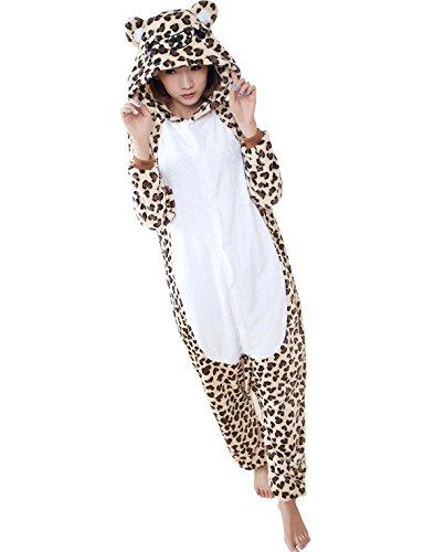 Tricandide Adult Animal Costume Onesie Halloween Costume Cosplay Pajamas Homewear Leopard XL
