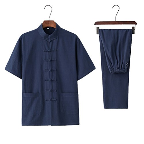 Gerald DuVallSDF Men Cotton Traditional Kung Fu Jacket Chinese Tang Suit Set (4XL/190cm,Navy Blue) by Gerald DuVallSDF (Image #1)