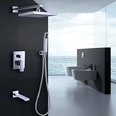 "Jiayoujia Rain Shower System with Valve Trim, 8"" Shower Head, Hand Shower, Diverter Valve"