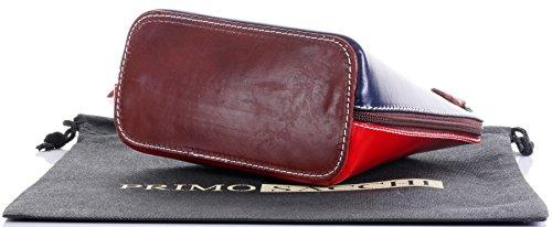 In pelle italiana, Small/Micro croce corpo borsa o borsetta borsa a tracolla.Include una custodia protettiva di marca. Blu Marino, Rosso E Marrone